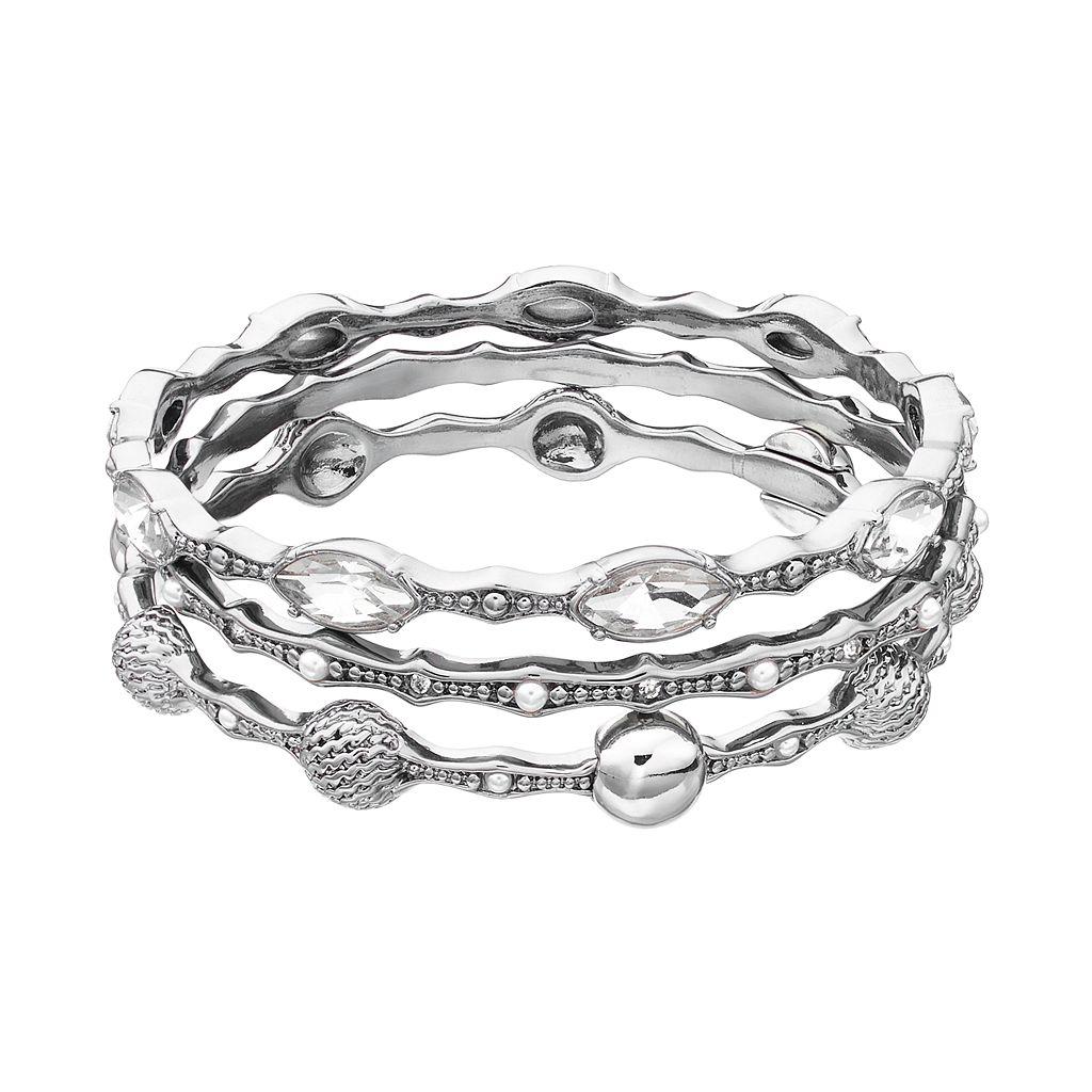 Simply Vera Vera Wang Round & Marquise Bangle Bracelet Set