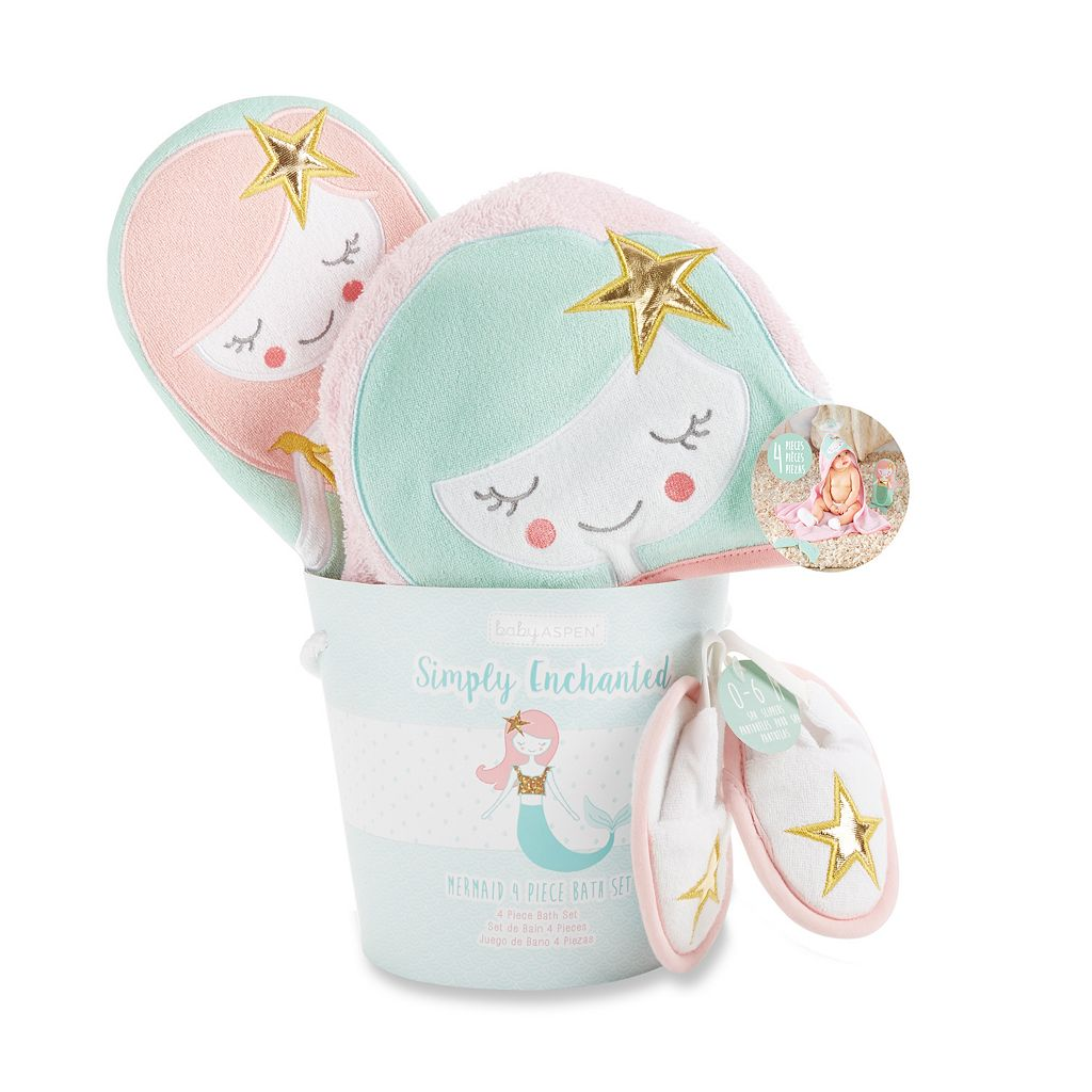 Baby Girl Baby Aspen Simply Enchanted Mermaid 4-Piece Bathtime Gift Set