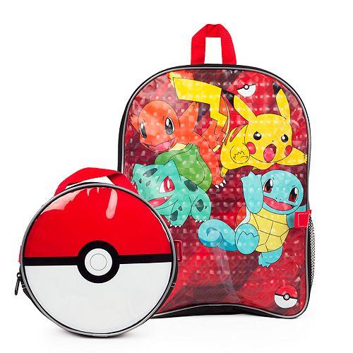 Kids Pokemon Pikachu, Charmander, Bulbasaur & Squirtle Backpack & Poke Ball Lunch Box Set