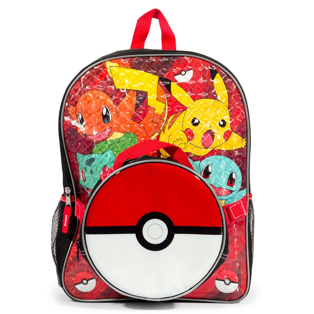 Kids Pokemon Pikachu, Charmander, Bulbasaur & Squirtle Backpack & Poke Ball Lunch Box Set