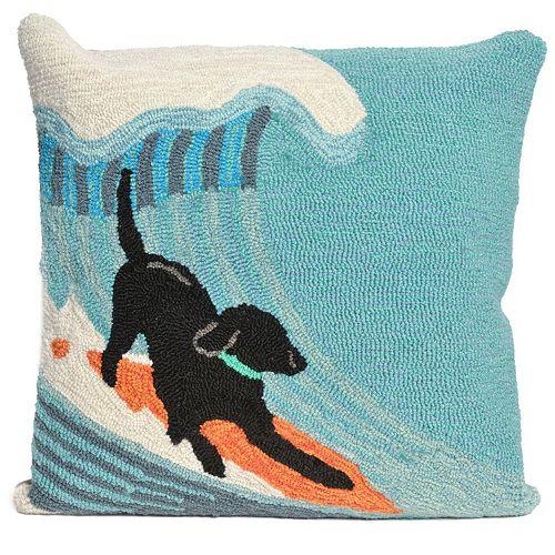 Liora Manne Surfing Dog Ocean Throw Pillow