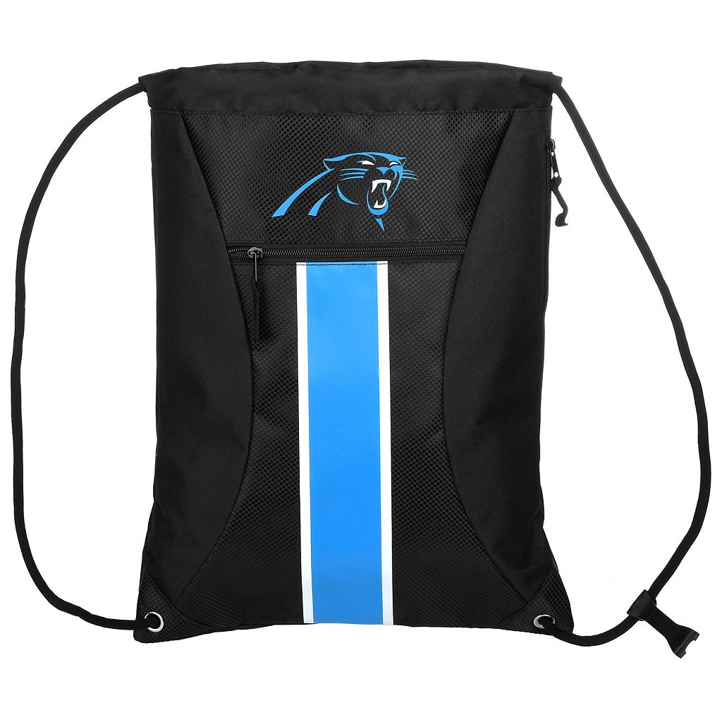 Forever Collectibles Carolina Panthers Striped Zipper Drawstring Backpack