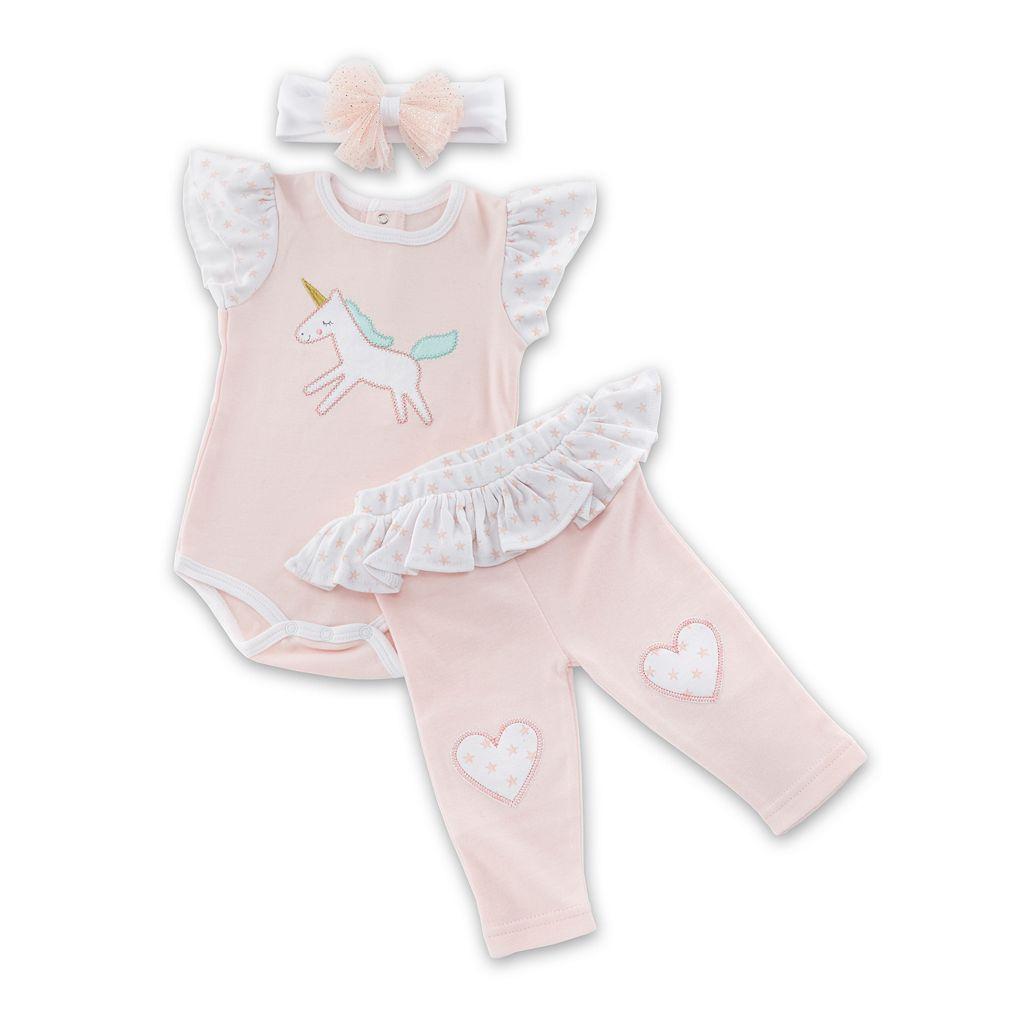 Baby Girl Baby Aspen Unicorn Bodysuit, Heart Leggings & Headband Set