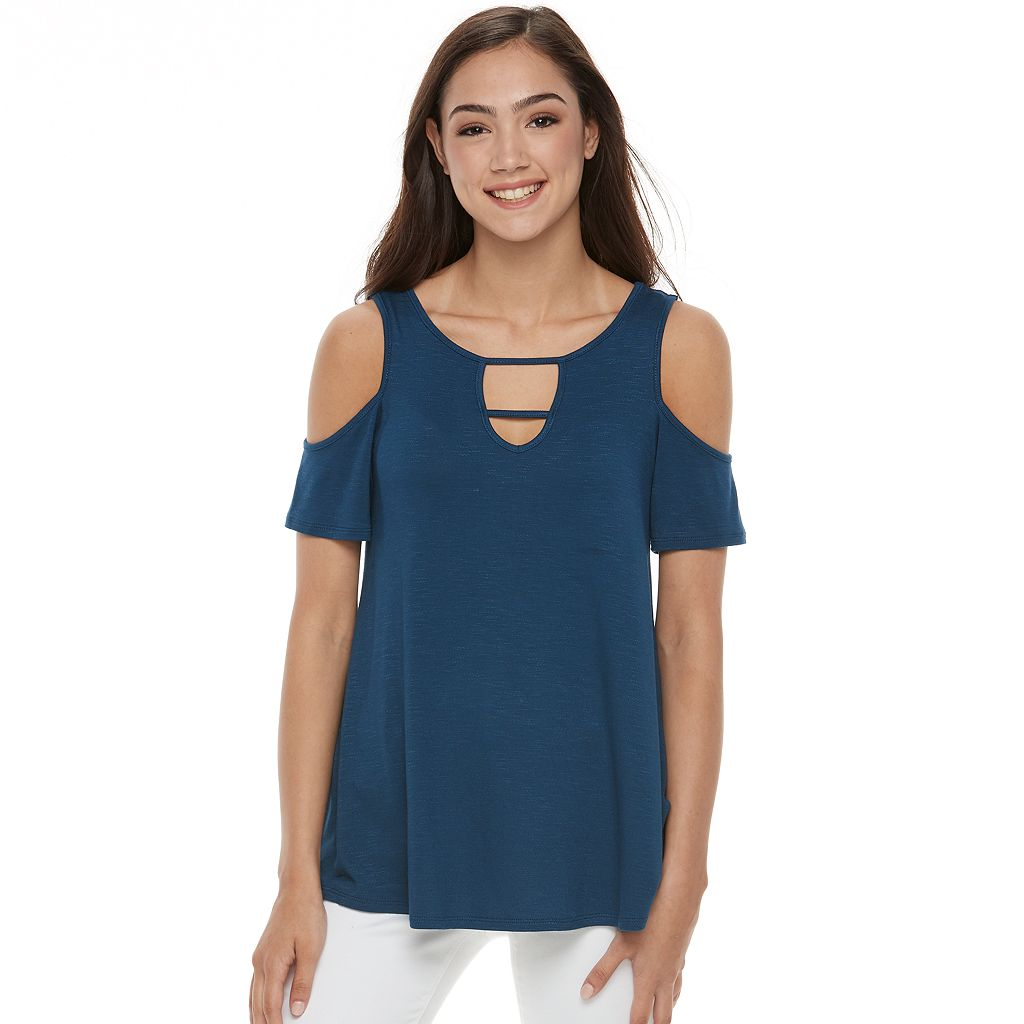 Juniors' Pink Republic Strappy Cold-Shoulder Tee