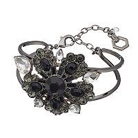 Simply Vera Vera Wang Black Flower Open Cuff Bracelet