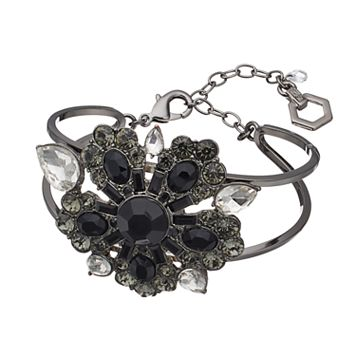 Simply Vera Vera Wang Black Flower Open Cuff Bracelet