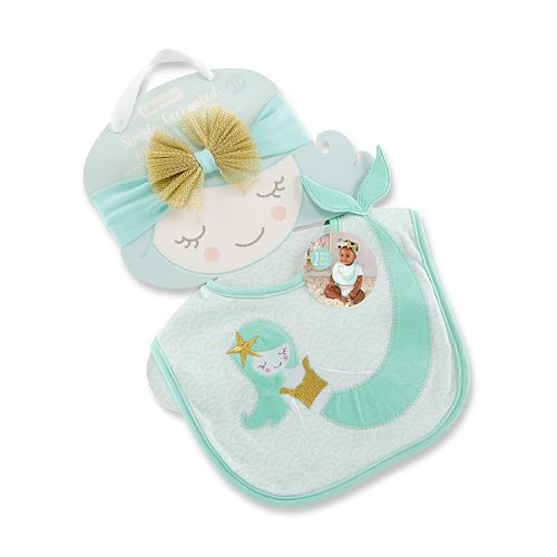 Baby Girl Baby Aspen Simply Enchanted Mermaid Bib & Headband Set