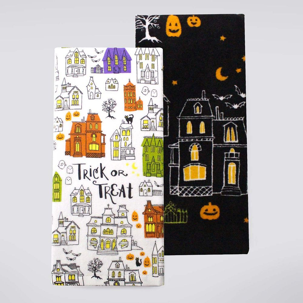 Halloween Together Haunted House Kitchen Towel 2-pk.