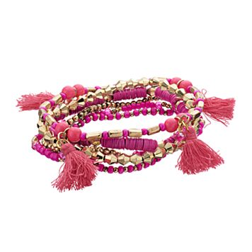 Pink Disc Beaded Tassel Stretch Bracelet Set