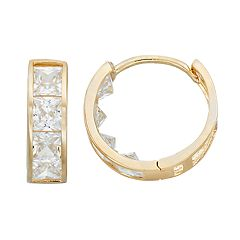 Forever 14K Cubic Zirconia Huggie Hoop Earrings