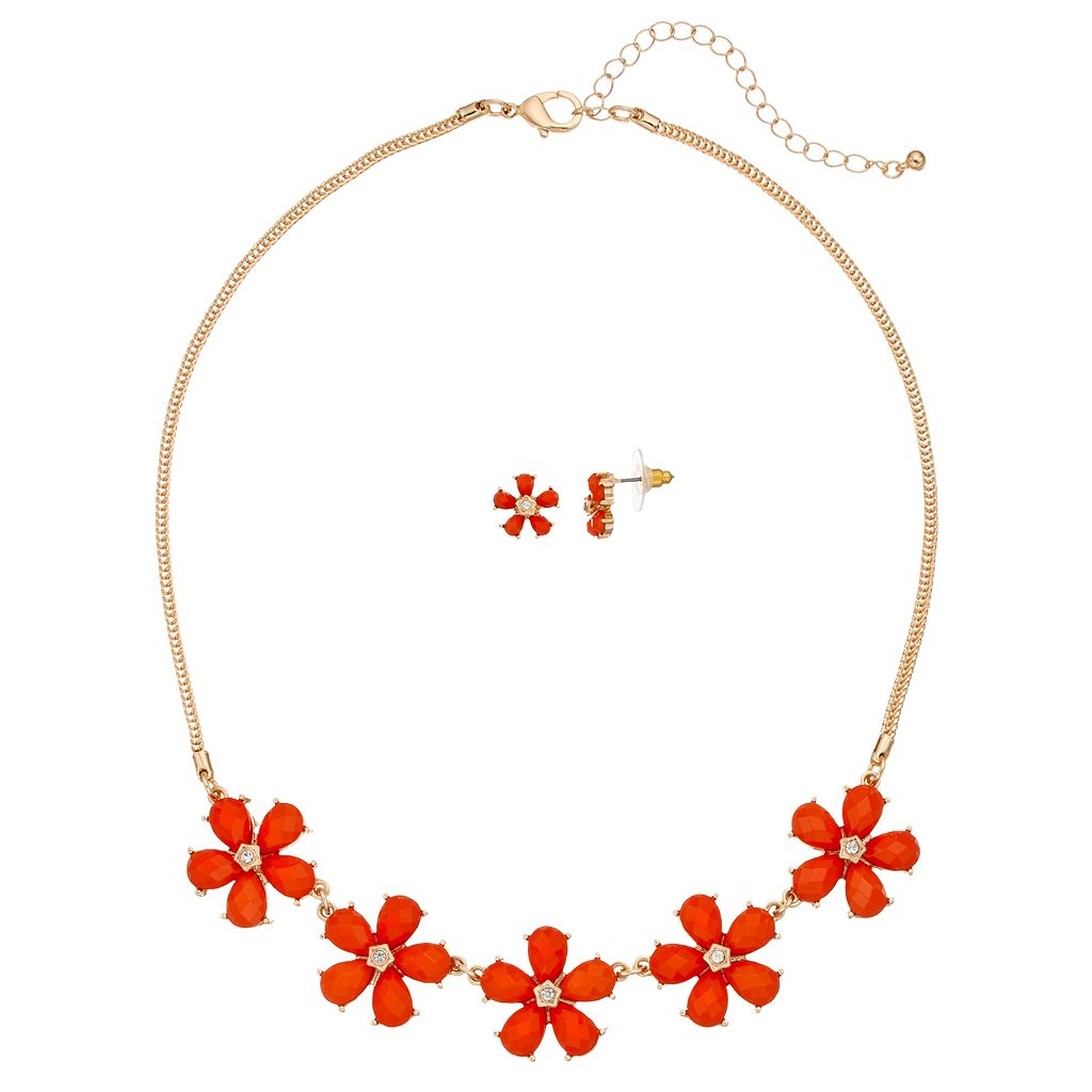 Orange Flower Necklace & Stud Earring Set