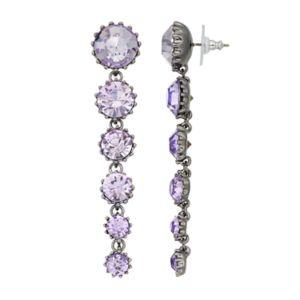 Simply Vera Vera Wang Purple Graduated Stone Nickel Free Linear Earrings