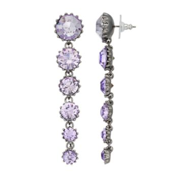 Simply Vera Vera Wang Purple Graduated Stone Nickel Free Linear Earrings