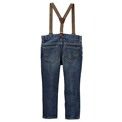 Baby Boy OshKosh B'gosh® Slim Fit Patch Jeans with Suspenders