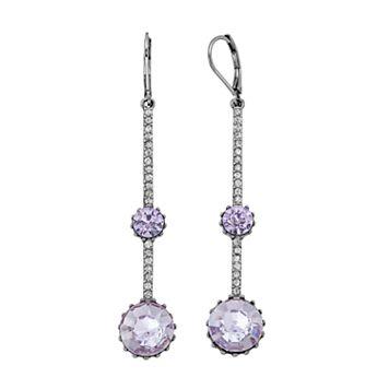 Simply Vera Vera Wang Purple Stone Pave Bar Nickel Free Linear Earrings