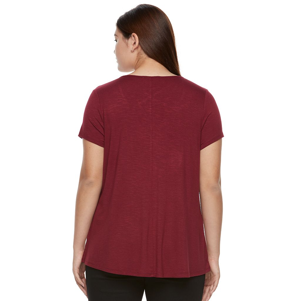 Juniors' Plus Size Pink Republic Strappy Scoopneck Tee