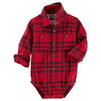 Baby Boy OshKosh B'gosh® Red & Black Plaid Flannel Bodysuit