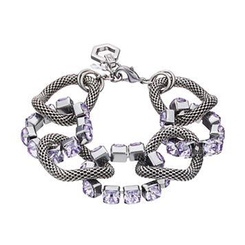 Simply Vera Vera Wang Purple Stone Mesh Link Bracelet
