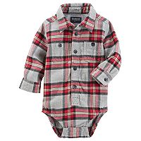 Baby Boy OshKosh B'gosh® Red & Gray Plaid Flannel Bodysuit