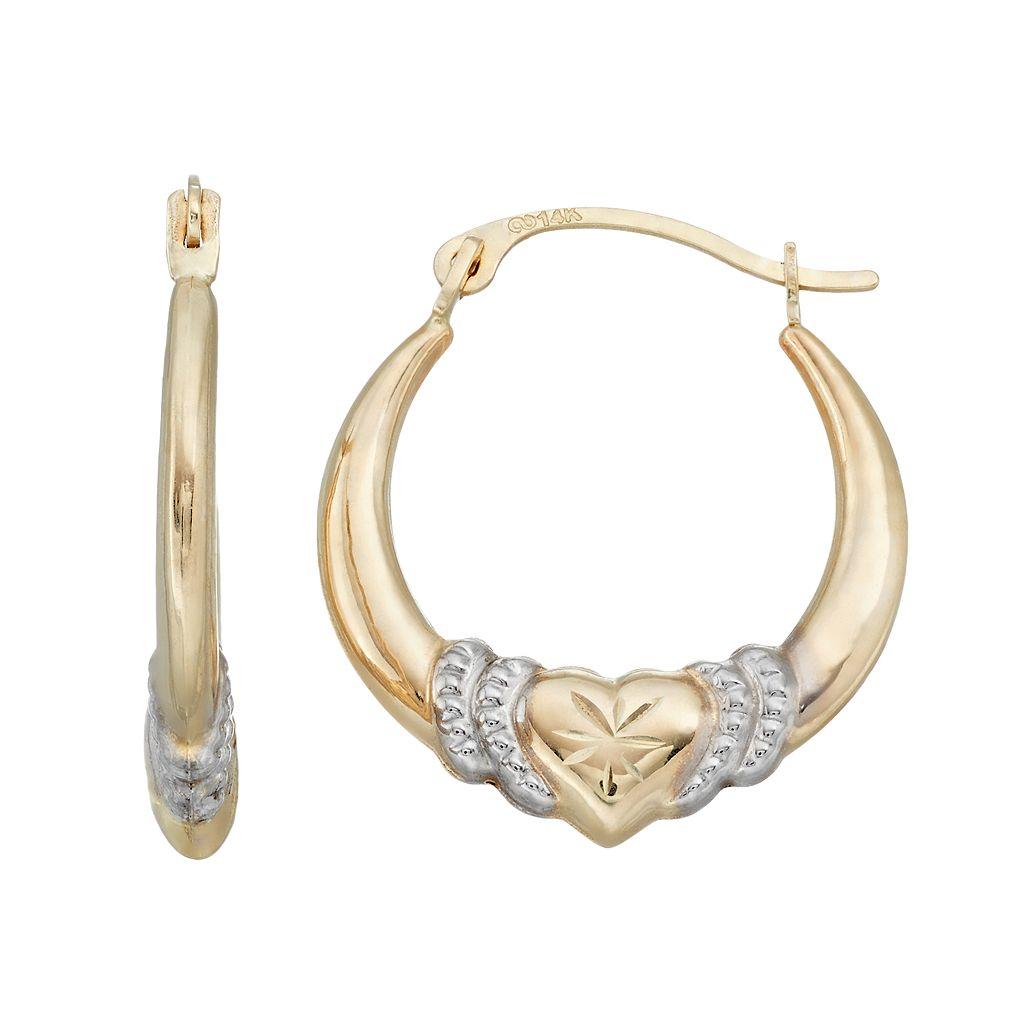 Forever 14K Two Tone Heart Hoop Earrings