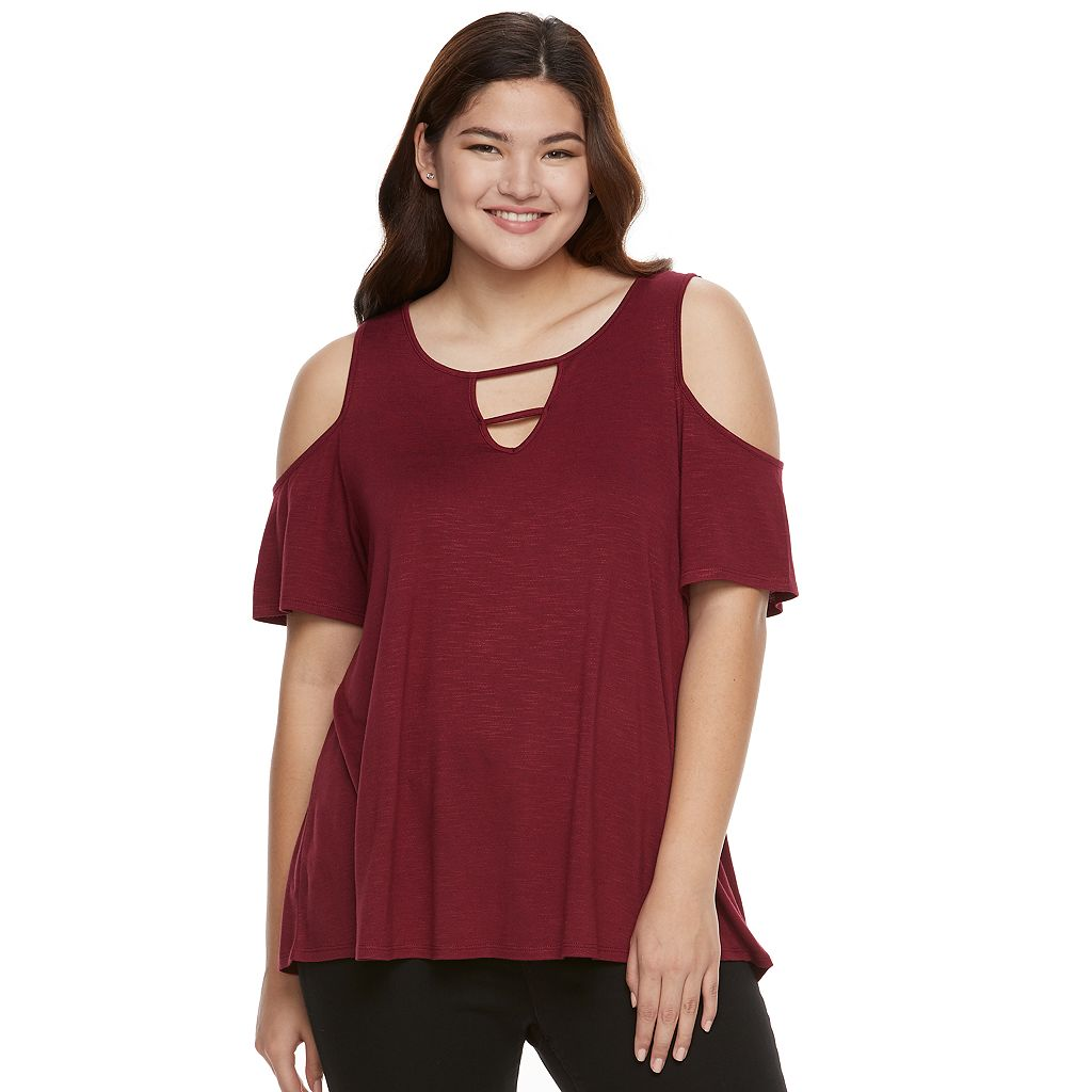 Juniors' Plus Size Pink Republic Strappy Cold-Shoulder Tee