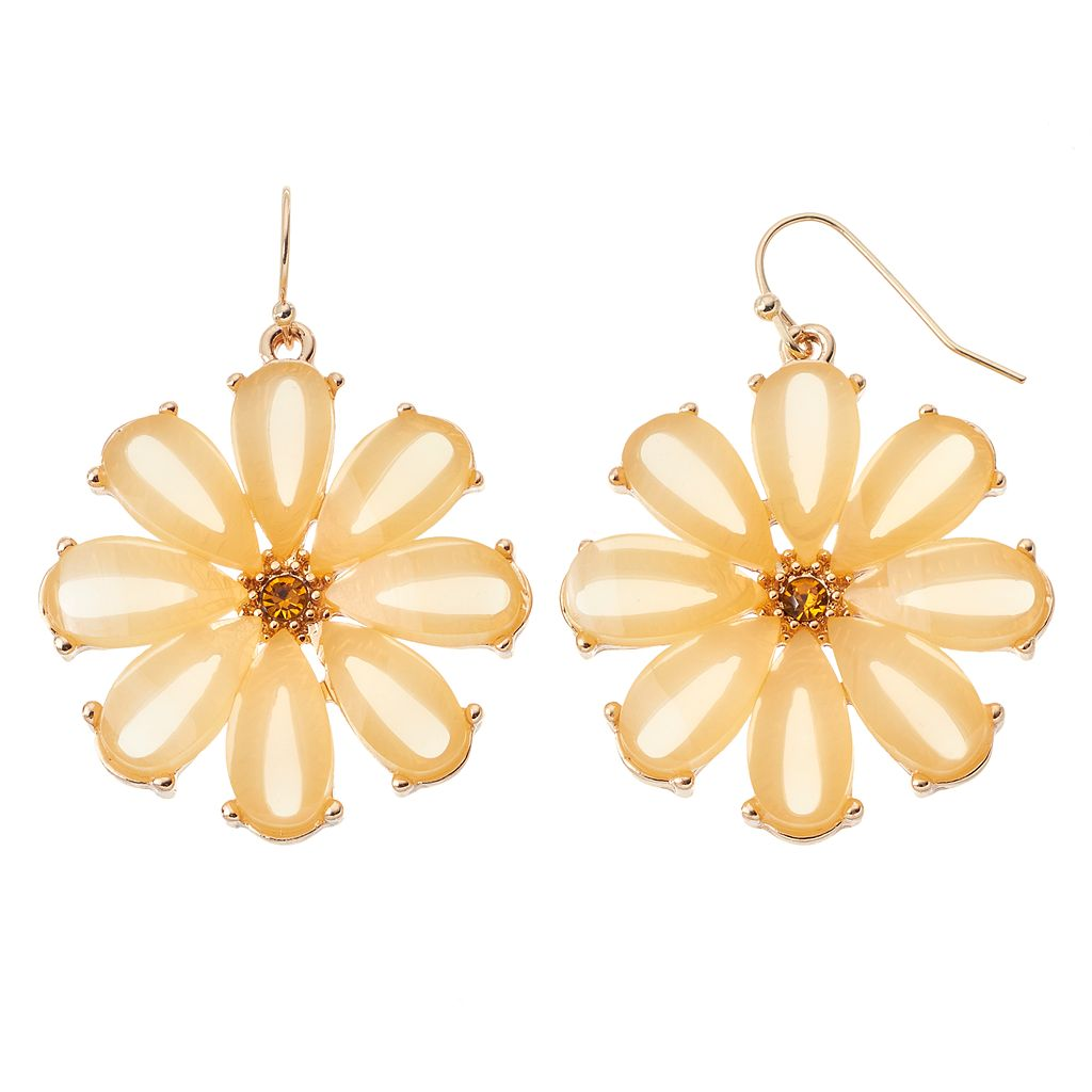 Yellow Flower Nickel Free Drop Earrings