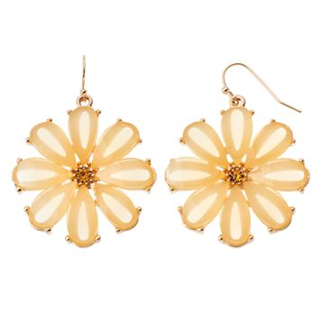 Yellow Flower Nickel Free Drop Earrings
