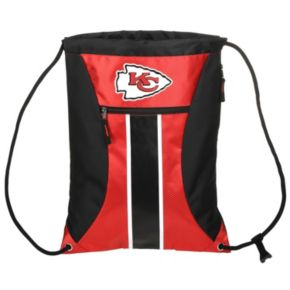 Forever Collectibles Kansas City Chiefs Striped Zipper Drawstring Backpack