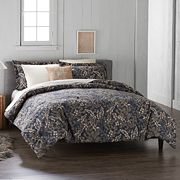 Cuddl Duds 6 pc Navy Floral Flannel Comforter Set