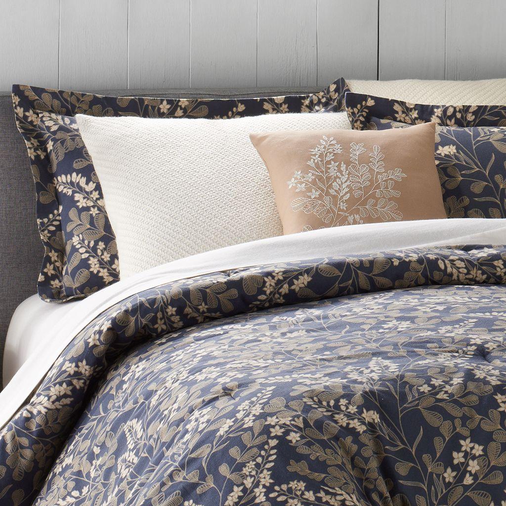 Cuddl Duds 6-Piece Navy Floral Flannel Comforter Set
