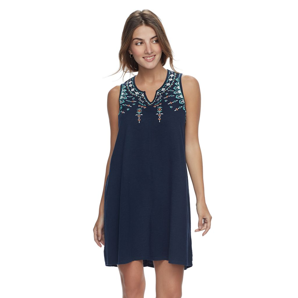 Petite SONOMA Goods for Life™ Embroidered Tank Dress