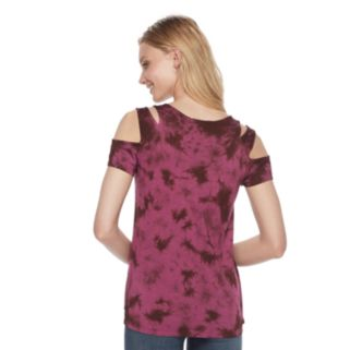 Women's Rock & Republic® Tie-Dye Cold-Shoulder Tee