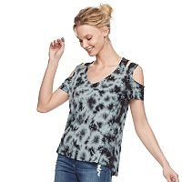 Women's Rock & Republic® Tie-Dye Cold-Shoulder Tee