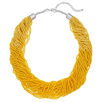 Yellow Seed Bead Torsade Necklace