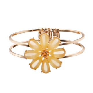 Yellow Flower Double Row Hinged Bracelet