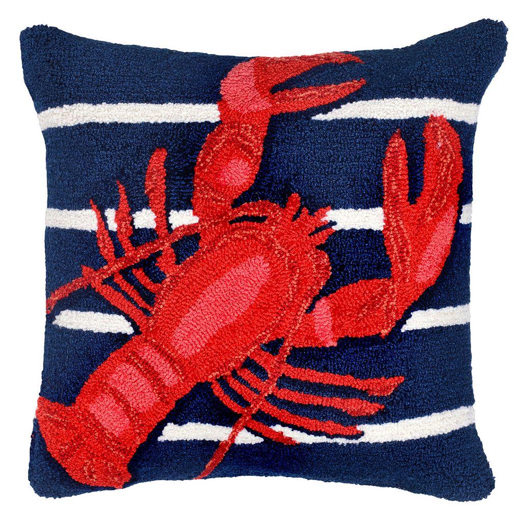 Liora Manne Lobster On Stripes Throw Pillow