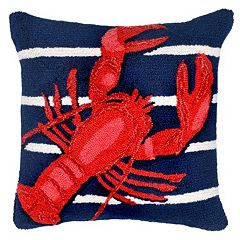 Liora Manne Lobster On Stripes Throw Pillow