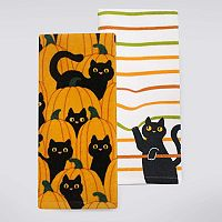 Celebrate Halloween Together Cats In Pumpkin Patch Kitchen Towel 2-pk.