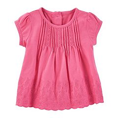 Baby Girl OshKosh B'gosh® Pleated Eyelet Jersey Top