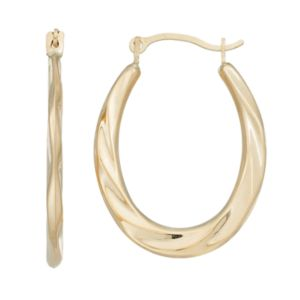 Forever 14K Twist Oval Hoop Earrings