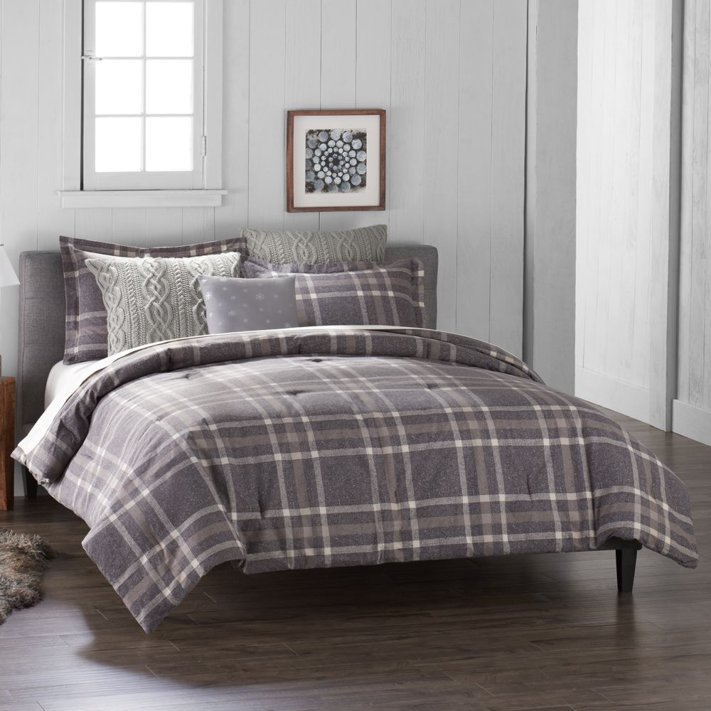 duds 6-piece gray plaid flannel comforter set