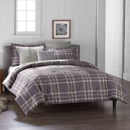 Cuddl Duds 6-Piece Gray Plaid Flannel Comforter Set