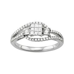 Sterling Silver 3/8 Carat T.W. Diamond Square Ring