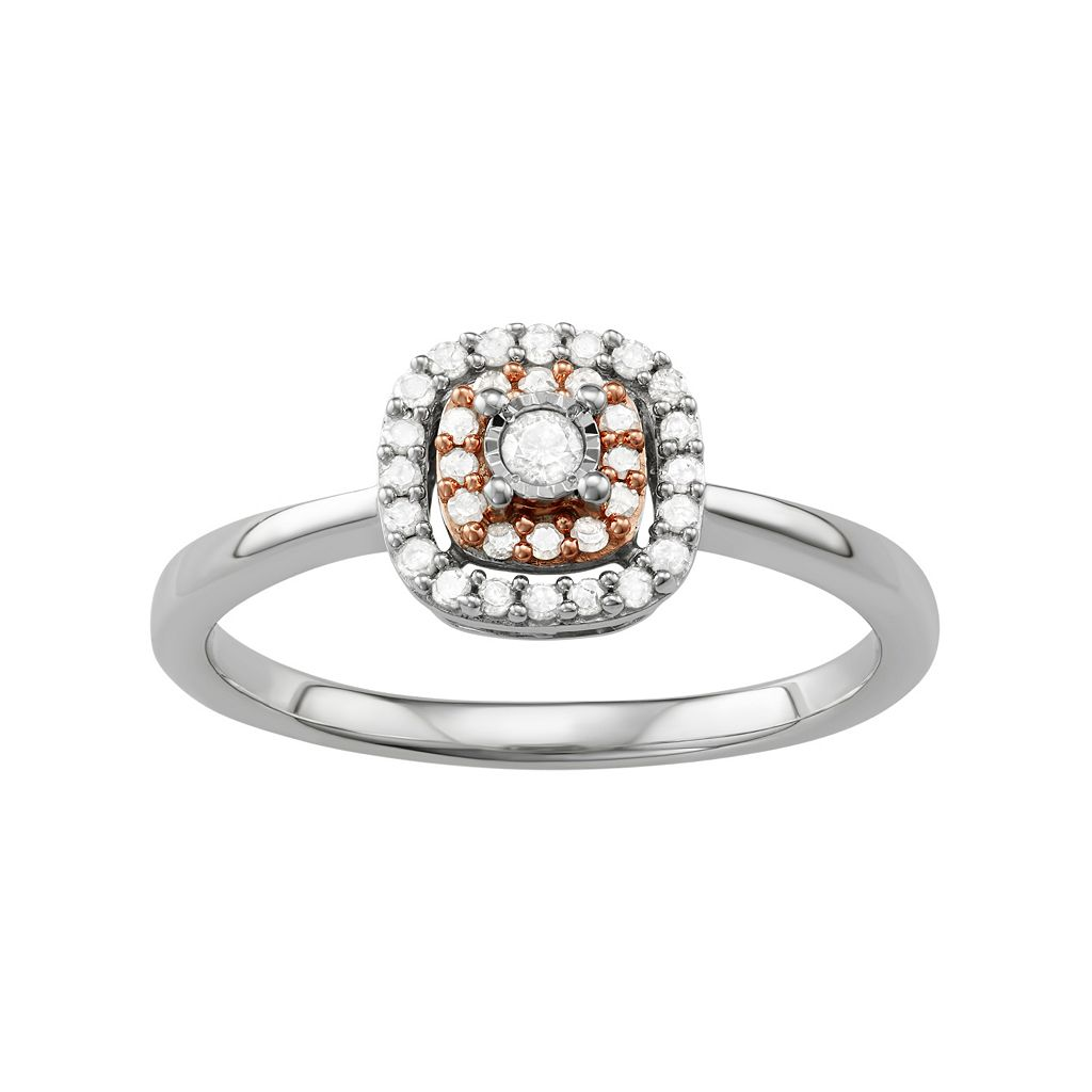 Two Tone Sterling Silver 1/5 Carat T.W. Diamond Double Halo Ring