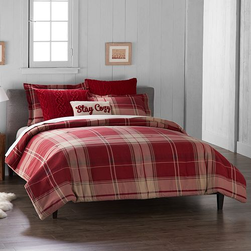 Cuddl Duds 6 Piece Red Plaid Flannel Comforter Set