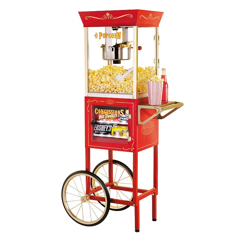 Nostalgia Electrics Vintage Series Commercial Popcorn & Concession Cart Give movie night a fun upgrade with delicious movie-theater style popcorn with this Nostalgia Electrics popcorn cart. Vintage-inspired design reminiscent of the silent movie house and carnivals of the early 1900s 8-oz. kettle with built-in stirring system pops the most delicious popcorn every time Tempered glass windows & door with a lighted interior allows you to watch each batch pop to perfection LED lighted concession stand can hold candy or other treats Keep all your popcorn essentials on hand in the convenient storage compartment Removable top for countertop use Metal, plastic Hand wash Manufacturer's 1-year limited warrantyFor warranty information please click here 59 H x 20 W x 27.5 D 8-oz. capacity 820 watts Model no. CCP610  Size: One Size. Color: Multicolor. Gender: unisex. Age Group: adult.