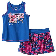 Toddler Girl PUMA Raceback Tank & Mesh Skort Set