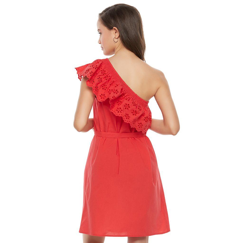 Juniors' SO® One Shoulder Eyelet Dress