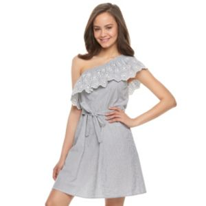 Juniors' SO® One Shoulder Eyelet Dress