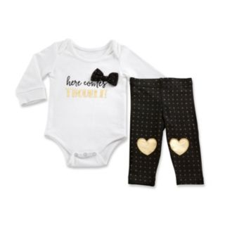 "Baby Girl Baby Aspen Trendy Baby ""Here Comes Trouble"" Bodysuit & Leggings Set"